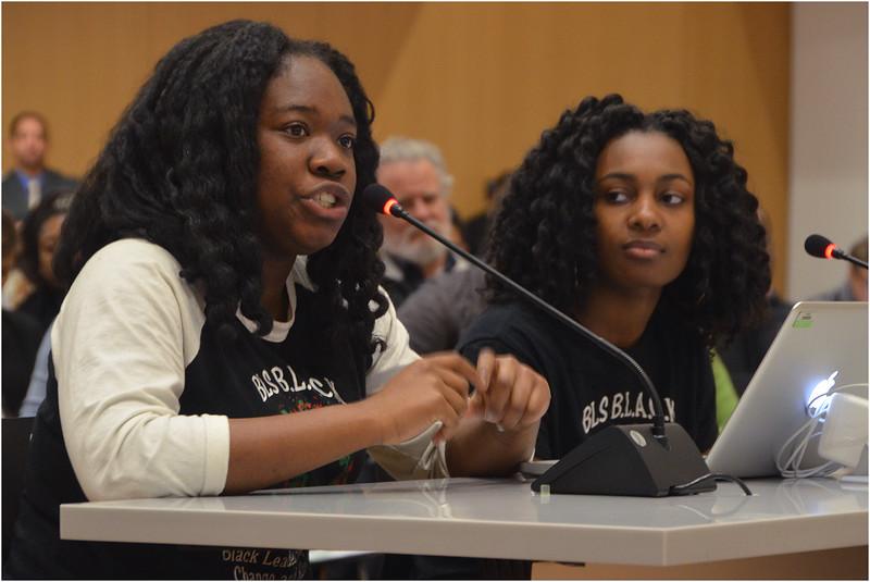 Leaders of BLS BLACK - Black Leaders Aspiring For Change and Knowledge, Meggie Noel and Kylie Webster Cazeau, address School Committee.