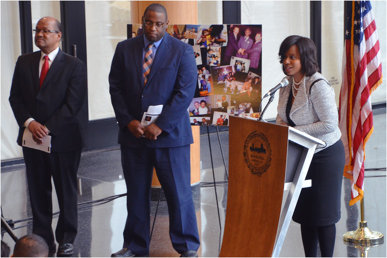 City Coouncilors (left to right) Charles Yancey, Tito Jackson and Ayanna Pressley.