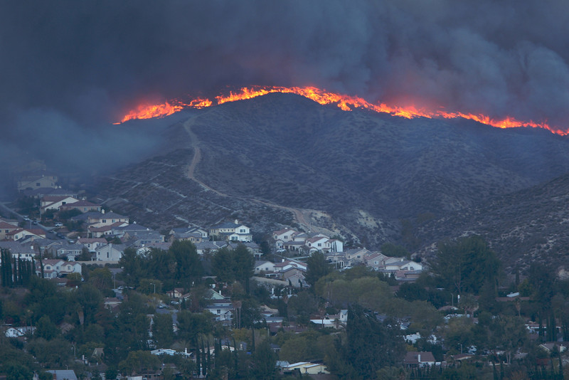 It was scary to see the fire more over that mountain and make it's way down toward this neighborhood.