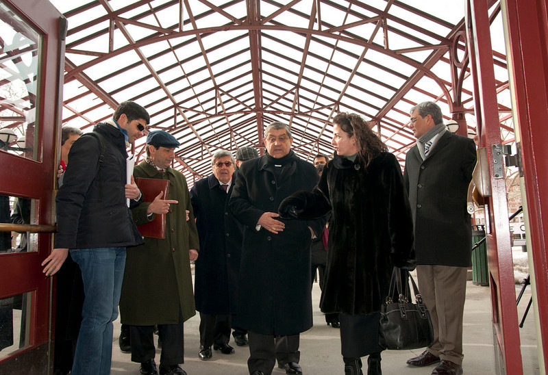 (L-R): Consul General of Italy, Francesco Maria Talo', Hon. Vincenzo Scotti, Cardinale Sepe and Senator Diane Savino arrive at the Immigration Museum at Ellis Island.<br /> New York, January 20th, 2011