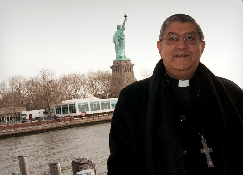 Cardinal Crescenzio Sepe arrives at Ellis Island to visit the Immigration Museum.<br /> New York, January 20th, 2011