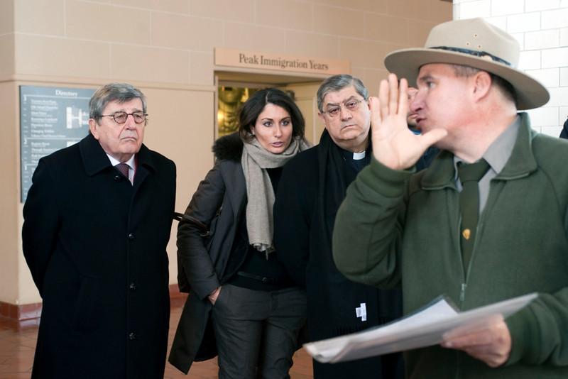 (L-R): Hon. Vincenzo Scotti and Cardinal Sepe visit the Immigration Museum at Ellis Island.<br /> New York, January 20th, 2011