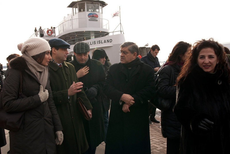 (L-R): Consul General of Italy, Francesco Maria Talo', Msgr. Gennaro Matino, Cardinal Sepe and Senator Diane Savino arrive at the Immigration Museum at Ellis Island.<br /> New York, January 20th, 2011