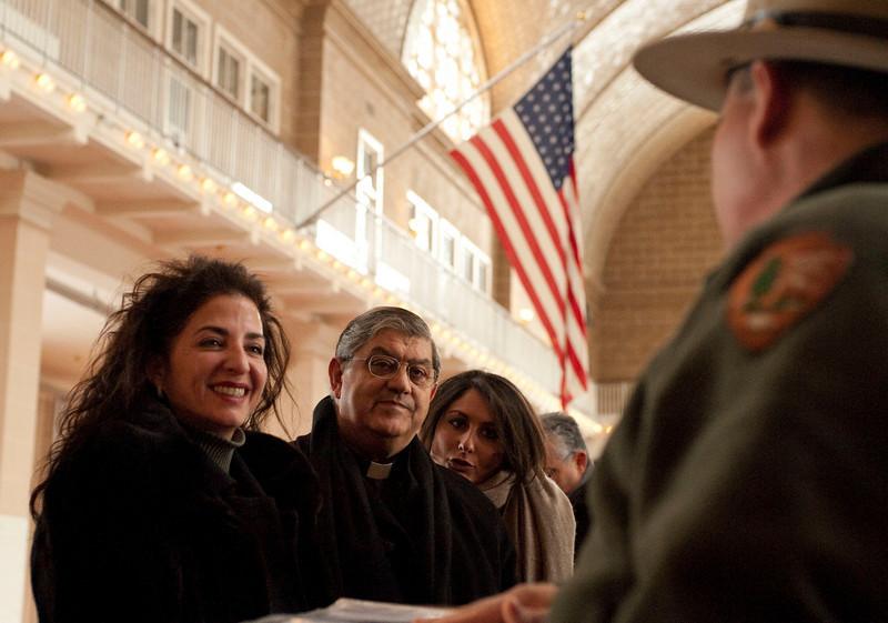 (L-R): Senator Diane Savino and Cardinal Sepe visit the Immigration Museum at Ellis Island.<br /> New York, January 20th, 2011