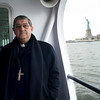 Cardinal Crescenzio Sepe on the ferry to visit the Immigration Museum on Ellis Island.<br /> New York, January 20th, 2011