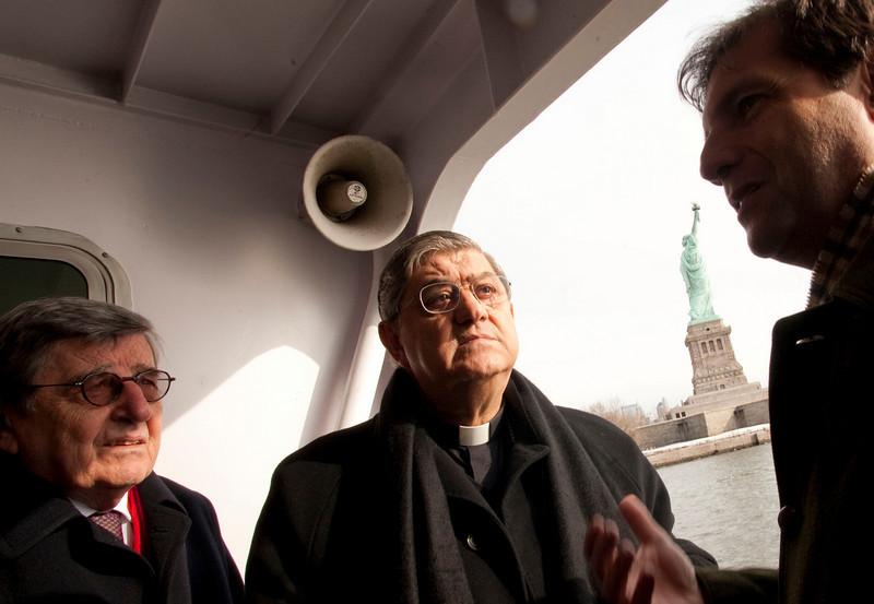 (L-R): Hon. Vincenzo Scotti, Cardinal Sepe and Consul General Francesco Maria Talo' visit the the Immigration Museum at Ellis Island.<br /> Ellis Island, NY, January 20th, 2011.