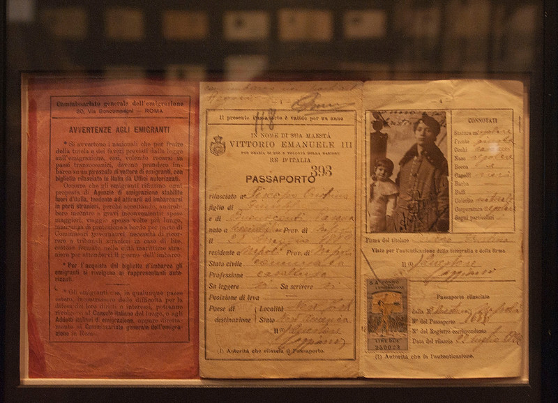 Immigrant Pasport at the Immigration Museum at Ellis Island. <br /> New york, January 20th, 2011
