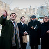(L-R): Consul General of Italy Francesco Maria Talò, Msgr. Gennaro Matino and Cardinal Sepe waiting for the ferry to the Immigration Museum at Ellis Island.<br /> Ellis Island, NY, January 20th, 2011.