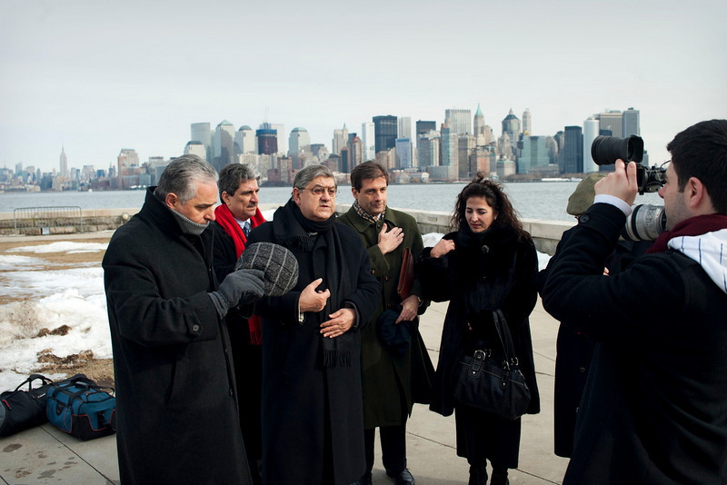 (L-R): Msgr. Gennaro Matino, Anthony J. Tamburri, Dean of the John D. Calandra Italian American Institute, Cardinal Sepe, Consul General of Italy Francesco Maria Talo' and Senator Diane Savino, President, New York Conference of Italian-American State Legislators, say a prayer at the Immigration Museum at Ellis Island.<br /> New York, January 20th, 2011