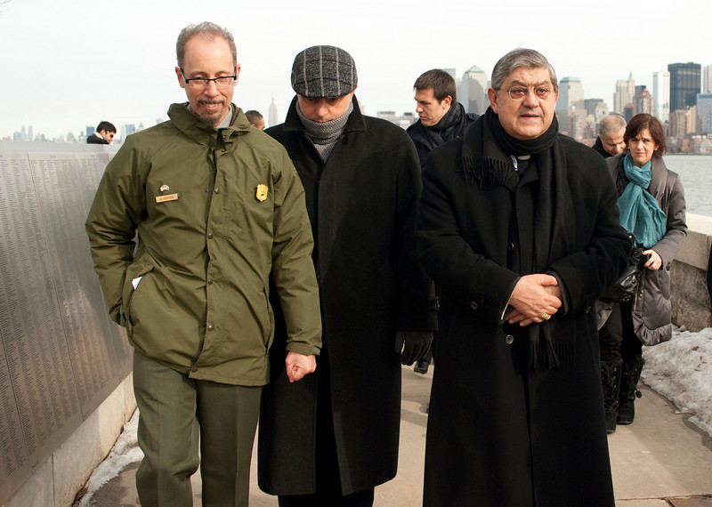 (L-R): Msgr. Gennaro Matino and Cardinal  Sepe of Napoli visit the the Immigration Museum at Ellis Island. <br /> Ellis Island, NY, January 20th 2011