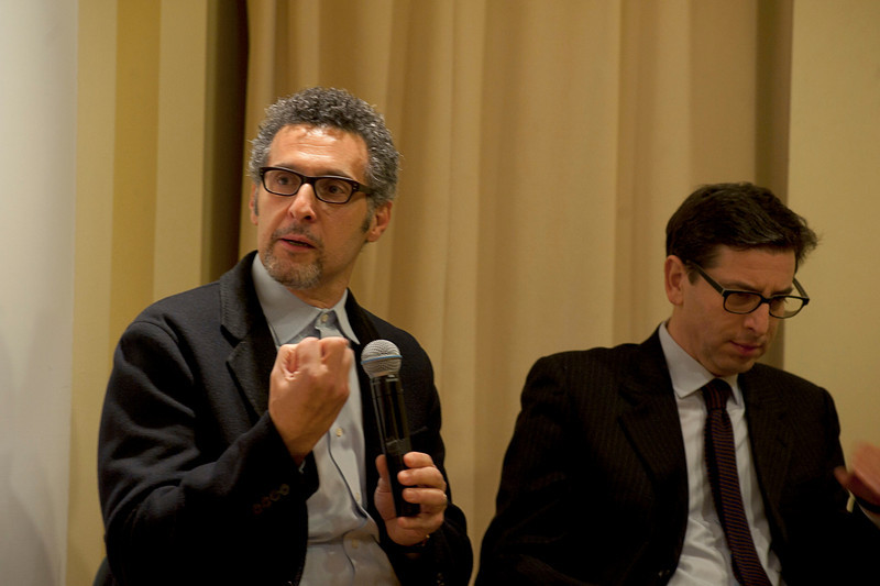 "(L-R): John Turturro and Prof. Antonio Monda talk with Cardinal Sepe in the discussion, entitled ""Naples: Facts and Fiction"", at the New York University's Casa Italiana Zerilli-Marimò.<br /> New York, January 20th, 2011"
