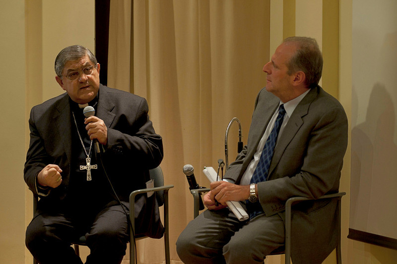 """(L-R): Cardinal Sepe and Casa Italiana's Director Stefano Albertini during the discussion, entitled """"Naples: Facts and Fiction"""", at the New York University's Casa Italiana Zerilli-Marimò.<br /> New York, January 20th, 2011"""