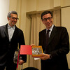 Prof. Antonio Monda receives a gift of St. Gennaro from Cardinal Sepe, at the New York University's Casa Italiana Zerilli-Marimò.<br /> New York, January 20th, 2011