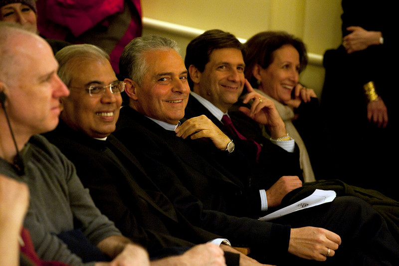"""(L-R): Msgr. Gennaro Matino, Consul General of Italy Francesco Maria Talo' attend the discussion, entitled """"Naples: Facts and Fiction"""", at the New York University's Casa Italiana Zerilli-Marimò.<br /> New York, January 20th, 2011"""