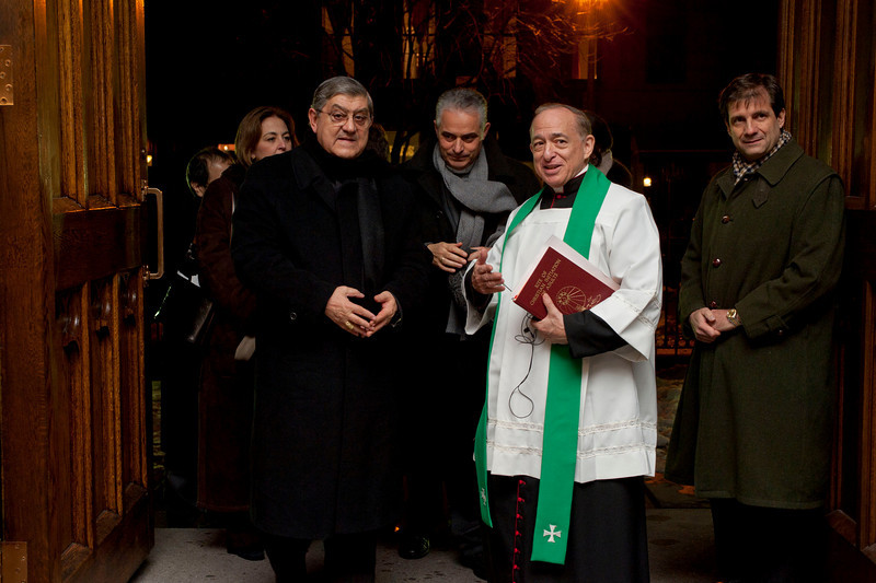 (L-R): Cardinale Sepe, Rev.Gennaro Matino, Msgr. Donald Sakano, Francesco Maria Talo', Consul General of Italy in New York.