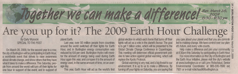 Burlington Post 2009 March 27 Friday - article by Carly Wysocki - Are you up for it? The 2009 Earth hour challenge
