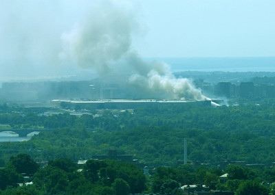 Shortly after the tragic moment on 9/11, took this photo of the Pentagon from the Cathedral's  central tower.