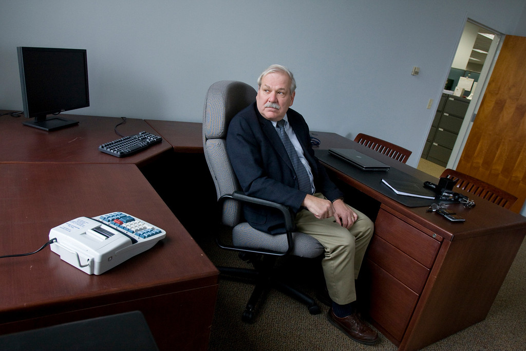 The Honorable Mark A. Pfeiffer (Associate Justice of the State of Rhode Island Superior Court, Ret.), seen here in his Providence office is tasked with the oversight of Central Falls RI's receivership following the financialy troubled city's handover of power in June. (Ryan T. Conaty for the Wall Street Journal)