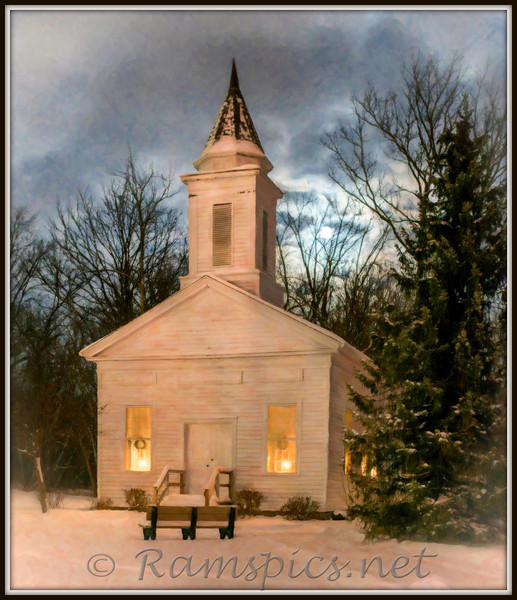 1845 Eaton County Courthouse at Bennett Park, Charlotte Michigan. Photograph taken under moonlight.<br /> <br /> Topaz processing to give the look of an oil painting.