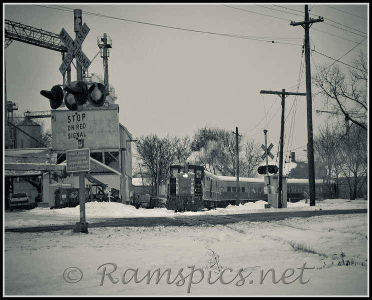 Shot of the dinner train ready for a trip up the tracks... though the image is processed in black and white, it differs little from the actual conditions on a gloomy day in January 2011.