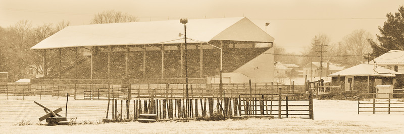 Photograph of the Eaton County fair grounds grandstand during a snow squall, Winter 2011.
