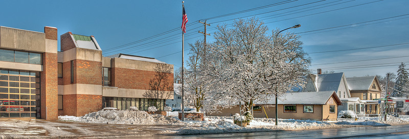 HDR composition of Charlotte (MI) City Hall complex, after the first major snow storm of 2011 / 2012.