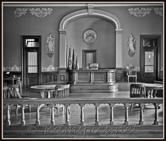 Main courtroom on the second floor of the the historic 1885 Eaton County (MI) Courthouse (known as Courthouse Square) downtown Charlotte.<br /> This image is part of a project to document all 48 historic sites in Eaton County. The display with descriptions, narratives and photographs will be housed in the 1885 courthouse, fall in 2011.