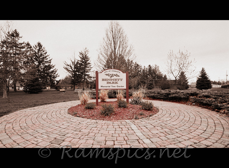 Wide angle view of the Bennett Park Memorial Garden spring 2011.