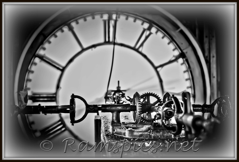 """Clock works in the tower of the 1885 Eaton County Courthouse, Charlotte, MI<br /> Image shows the central gear cluster that moves the hands on the four clock faces... only a handful of folks<br /> have seen how the """"big clock"""" works. Now ya know!  Simple, efficient and still ticking for over a century."""