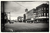 Photograph of corner of Cochran and Lawrence, processed as vintage black and white print.