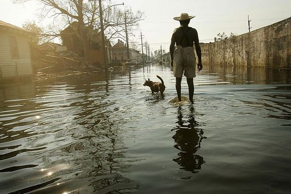 "9/4/05 -- New Orleans, Louisiana -- 9th Ward -- Paul Garrett, 56, and his neighbor's dog, Rusty, whom he rescued during Hurricane Kartina, walk the streets of the 9th ward on their way home. ""Everybody left,"" said Garrett, a former longshoreman. ""I stayed."" Garrett said he stayed to help the neighborhood's elderly and sick. ""Everybody can't leave,"" he said. ""I'm lookin' [sic] out for people who can't help themselves. Especially the older people. See, I'm just a 'junior citizen.' They're 'senior citizens',"" he continued. ""You got a lot of people in this city who don't care for each other. I feel like we should pull together now instead of apart. It's gotten worse. It's not right,"" he said. Boston Globe Photo - reproduction requires explicit written permission from the Boston Globe."