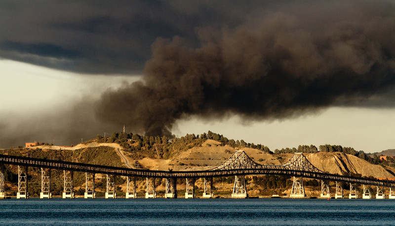 Fire at the Chevron Refinery in Richmond as seen from Tiburon, Calif. on Monday August 6th,  2012.