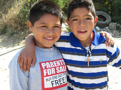 Pastor Gilbert translated into Spanish the message on this little guy's T shirt - he had no idea what it meant.