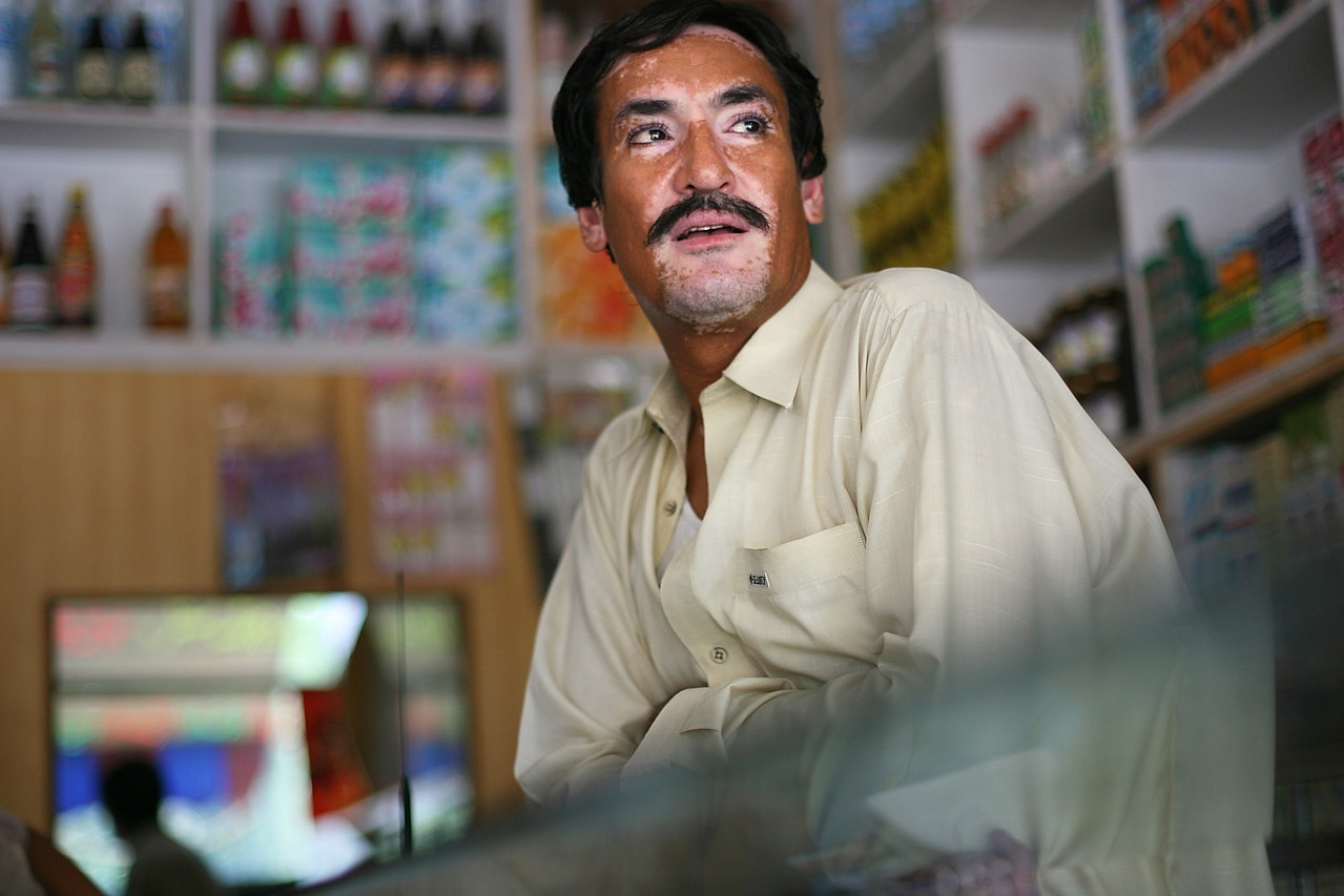 Taxila, Pakistan - Christian Presbyterian Hospital - This man runs a small shop directly across from the Christian Hospital in Taxila. He has a high opinion of the hospital, siting its reputation for excellent care and honesty. The Christian Presbyterian Hospital, a highly respected, privately funded hospital in Taxila, Pakistan, was attacked several years ago by an extremist group outside of Taxila.  Four nurses were killed in the attack, during which explosives hit the chapel during morning services.  Boston Globe Photo - no reproduction without explicit written permission from the Boston Globe.