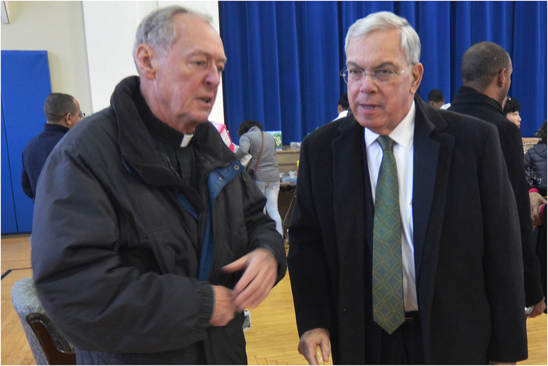 """Mayor Menino with the former pastor of St. Peter's Father Richard """"Doc"""" Conway."""
