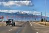 Westbound Platte Avenue (U.S. Highway 24) heading towards Pikes Peak Mountain.