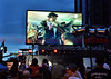 NBC coverage of the 2012 Opening Ceremony of the Olympics in London. This giant screen TV was set up at Tejon and Colorado in Downtown Colorado Springs, Colorado where thousands gathered to watch.