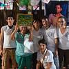Marco, María Luisa, David, ,Katerina y Amanda reciben una de las famosas pinturas de Doña Brígida, en las que representa la vida de la Comunidad. Todo el trabajo artístico que realiza esta lideresa representa la conservación de la memoria histórica de la Comunidad de Paz.