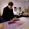 Karen Foley producing protective mask at Stitch House. March 22, 2020.
