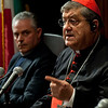 "(L-R) Msgr. Gennaro Matino and Cardinal Sepe visit the Italian Cultural Institute to present ""Dire Napoli"" initiative. <br /> New York, January, 18th, 2011"