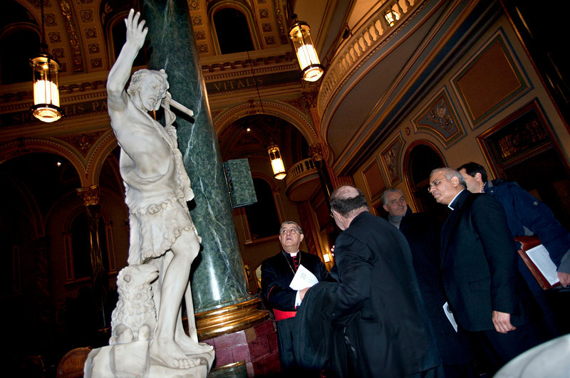 """Cardinal Sepe arrives at Saint Jean Baptiste Church, where he attends """"Dire Napoli in music"""". Concert hosted by the Italian Academy Foundation in collaboration with the American Society of the Italian Legions of Merit and the Conference of Presidents of Major Italian American Organizations. <br /> New York, January 18th, 2011"""