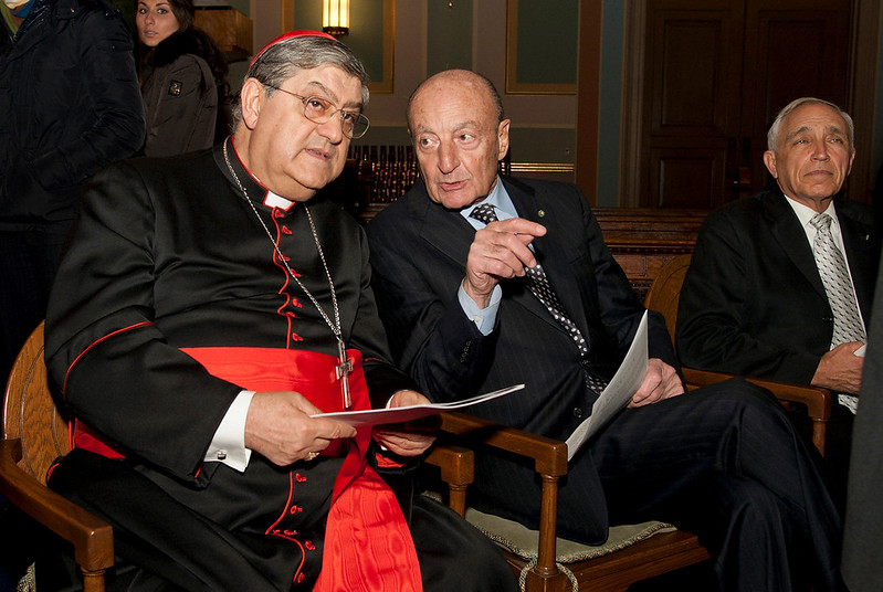 "(L-R): Cardinal Sepe and Lucio Caputo, President of the Italian Legions of Merit  (ASILM).<br /> ""Dire Napoli in music"". Concert in honor of His Eminence Cardinale Sepe, hosted by the Italian Academy Foundation in collaboration with the American Society of the Italian Legions of Merit and the Conference of Presidents of Major Italian American Organizations. <br /> Saint Jean Baptiste on Lexington Avenue at East 76th Street.<br /> New York, January 18th, 2011."
