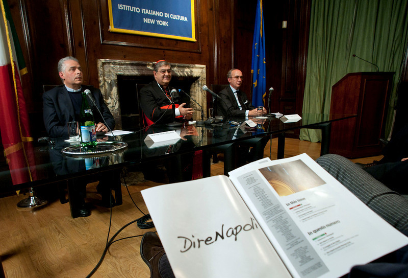 """Cardinal Sepe visits the Italian Cultural Institute to present """"Dire Napoli"""" initiative. <br /> New York, January, 18th, 2011"""