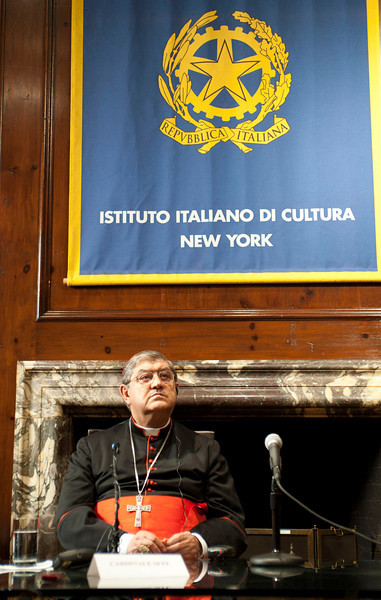 "Cardinal Crescenzio Sepe visits the Italian Cultural Institute to present ""Dire Napoli"" project. <br /> New York, January, 18th, 2011"