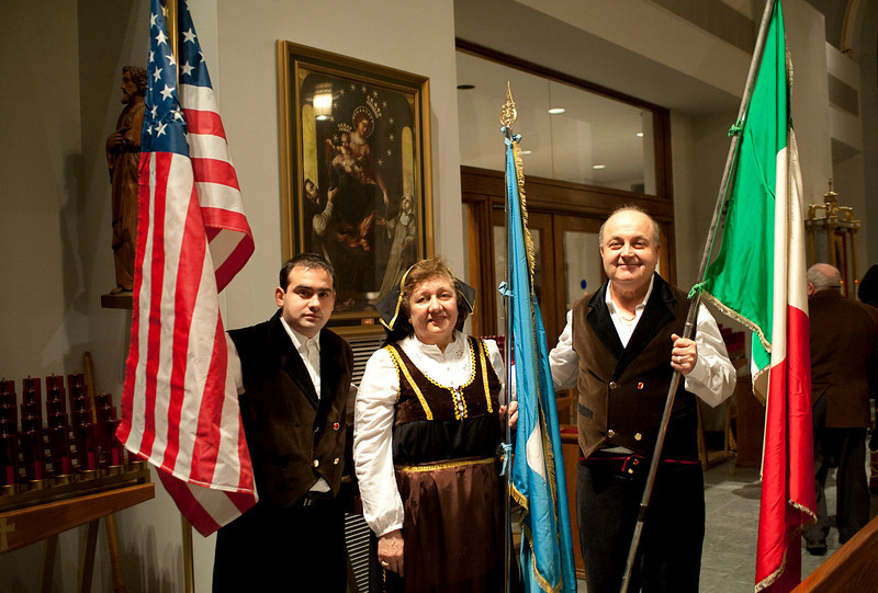 Traditional antique costumes from Sassano, Salerno, Campania Region, Italy.<br /> St. Luke's Church, Queens.<br /> New York, January 17th, 2011