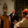 President Pasquale Carucci, Associazione Caccianesi d'America, introduce a singer playig the Ave Maria to Cardinal Sepe of Napoli, Italy, at the Church of St. Luke in Queens. <br /> New York, January 17th, 2011