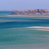 "The  island called ""The crocodile"" in the lagoon seen from the little mountain top called K 25 (=25 kilometers) near Dakhla."