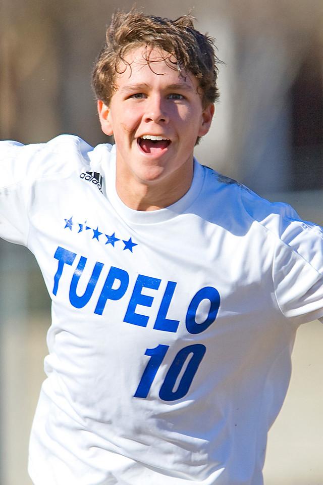 Tupelo's Rich Heyer celbrates his winning goal against the Clinton Arrows