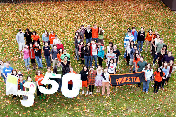 """<a href=""""http://www.dailyprincetonian.com/frontpage/2009/10/26/snapshot/""""><i>The Daily Princetonian,</i> October 16, 2009 - Front Page Standalone</a>  Caption: Students gather behind Campus Club as part of celebrations of the 350 International Day of Climate Action this past Saturday. This number represents the concentration of atmospheric C02 that scientists believe must be reached to avoid catastrophic climate change."""
