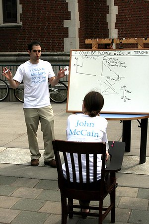 "<a href=""http://www.dailyprincetonian.com/2008/10/02/21628/""><i>The Daily Princetonian,</i> October 2, 2008 - ""Coan '09: McCain can't handle economy""</a>  Caption: James Coan '09 (l.) and Erin Sherman '11 act out an economics lesson to underscore John McCain's purported lack of economic knowledge."
